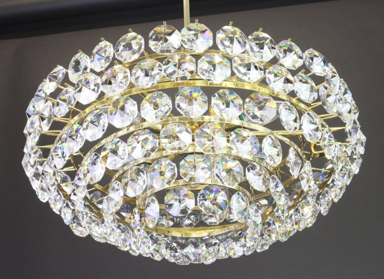 Mid-Century Modern Bakalowits Chandelier, Brass and Crystal Glass, Austria, 1960s For Sale