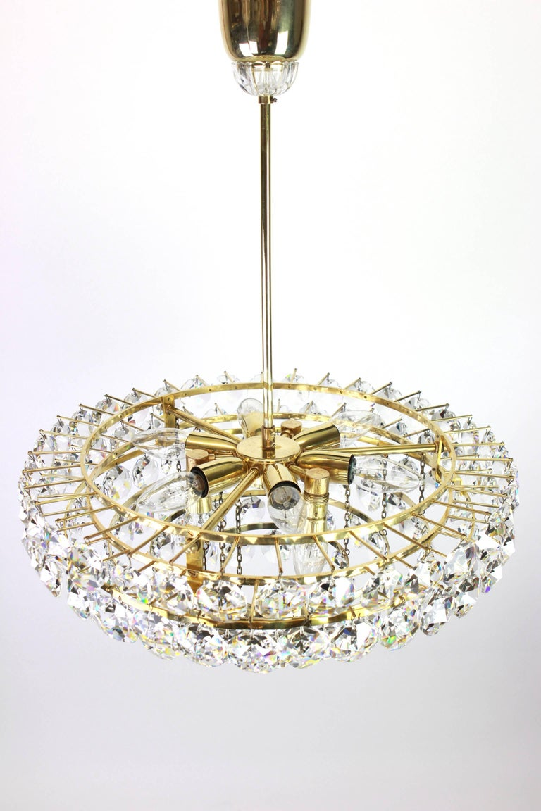 Bakalowits Chandelier, Brass and Crystal Glass, Austria, 1960s For Sale 1