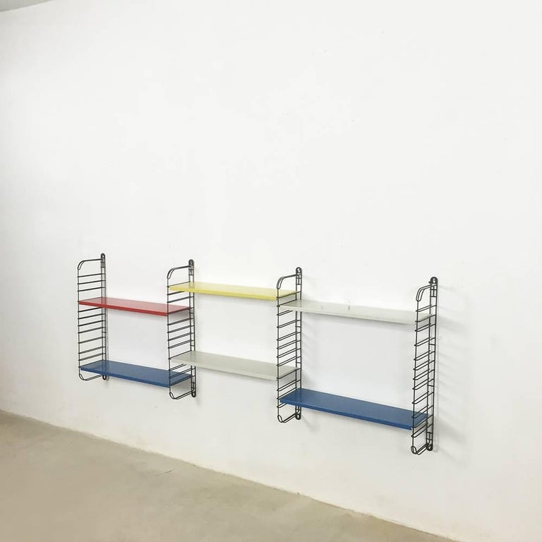 Mid-Century Modern Original 1960s Multi-Color Metal Wall Unit by A. Dekker for Tomado, Holland For Sale