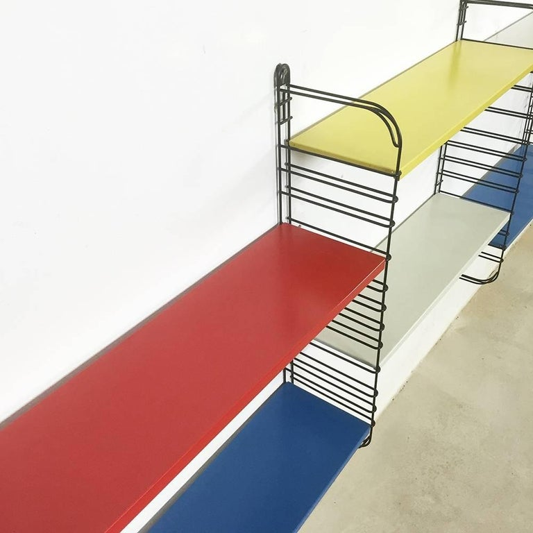 Original 1960s Multi-Color Metal Wall Unit by A. Dekker for Tomado, Holland For Sale 1