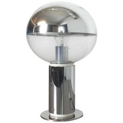 Original 1970s Chrome Staff Table Light with Glass Bulb Designed by Motoko Ishi
