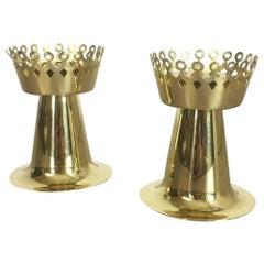 Original 1960er Jahre Nos Messing Kerzenhalter Hergestellt von Hans-Agne Jakobsson AB, Schweden