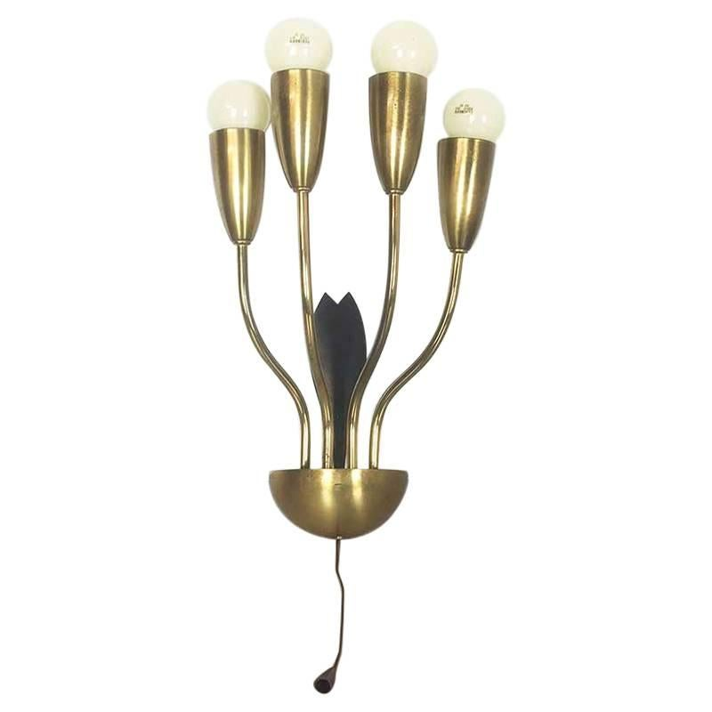 Italian Wall Light in Metal and Brass, 1960s, Made in Italy