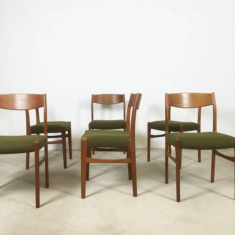 Set of six Danish teak dining chairs with green hopsak