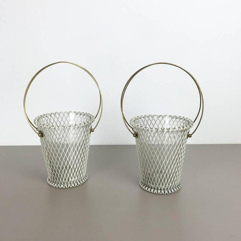 Original 1960s Modernist Set of Two Flower Pot Plant Stands Vases Made in France 2