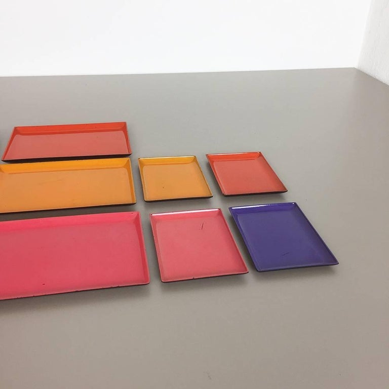 1960s Set of Eight Multi-Color Tray Elements Made in Sweden, Midcentury Modern 4