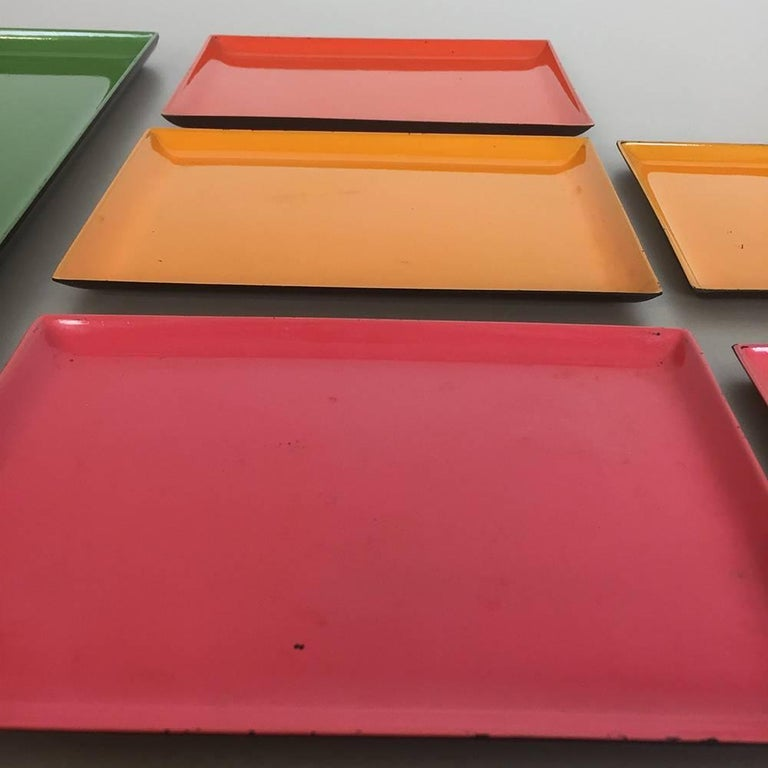 1960s Set of Eight Multi-Color Tray Elements Made in Sweden, Midcentury Modern 7