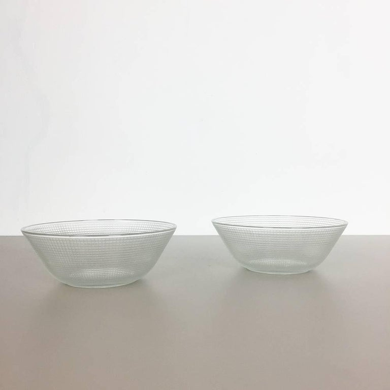 Set of Two Glass Shells by Wilhelm Wagenfeld for VLG Weisswasser, Germany 2