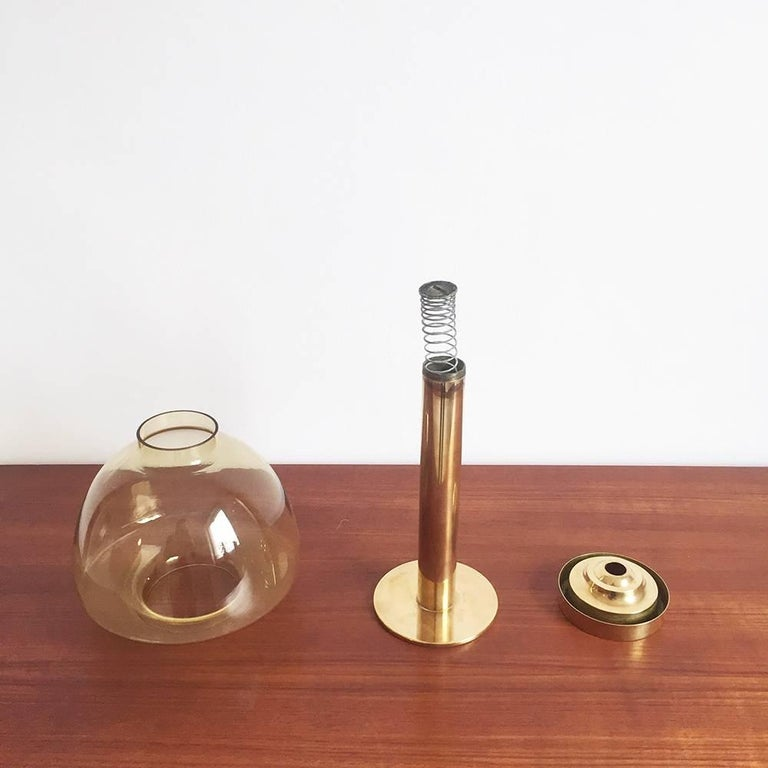 1960s Brass and Glass 'Claudia' Candleholder Made by Hans-Agne Jakobsson 1