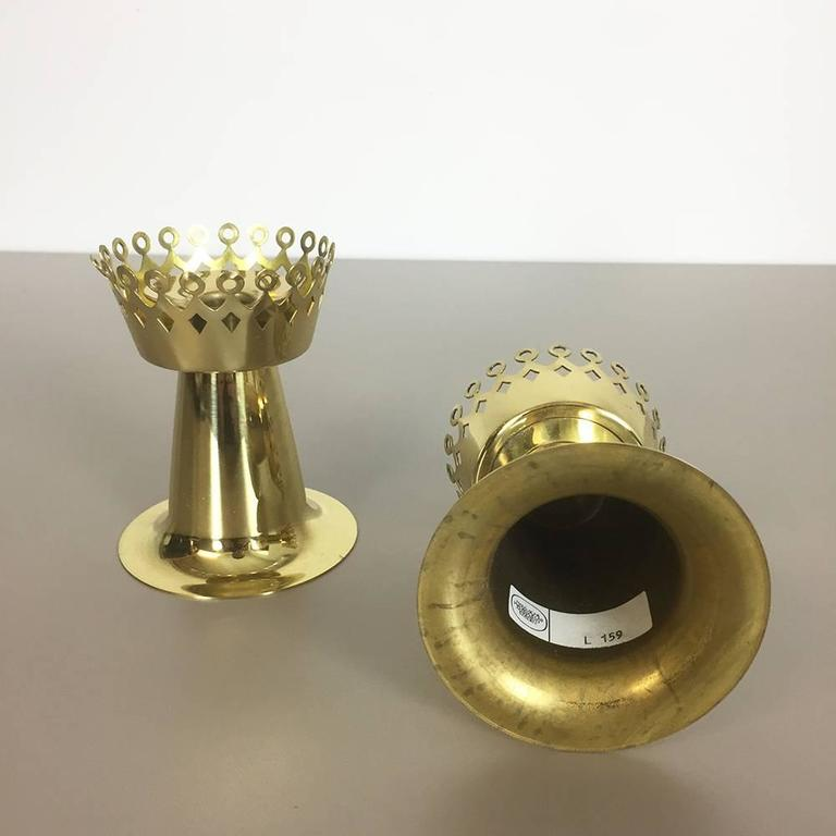 Swedish Original 1960s Nos Brass Candleholder Made by Hans-Agne Jakobsson AB, Sweden For Sale