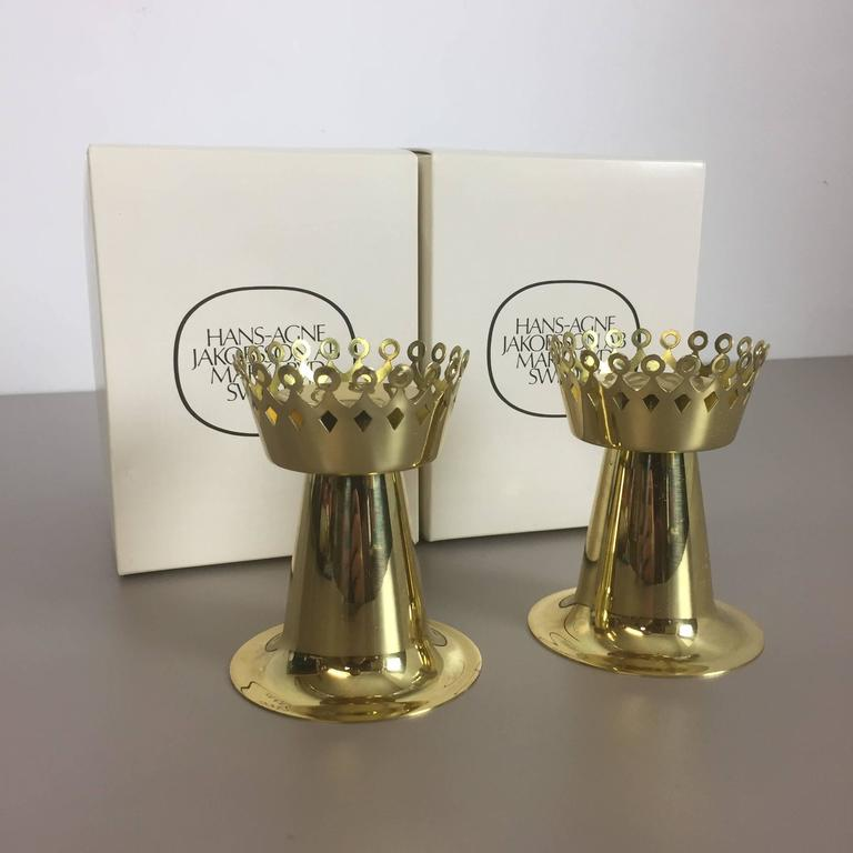 Original 1960s Nos Brass Candleholder Made by Hans-Agne Jakobsson AB, Sweden For Sale 3