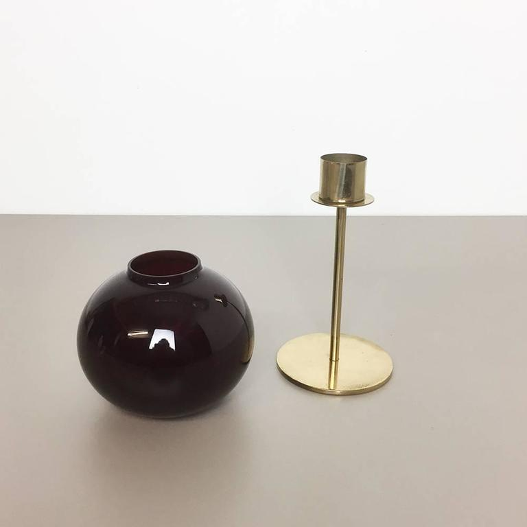 1960s Brass and Glass Candleholder Made by Hans-Agne Jakobsson Ab, Sweden In Good Condition For Sale In Kirchlengern, DE