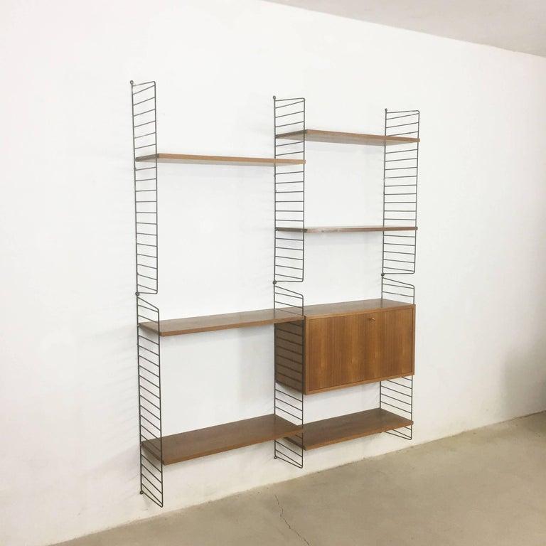 Original 1960s Modular String Wall Unit in Walnut by Nisse Strinning, Sweden 2