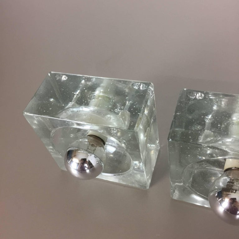 Glass Cube Wall Lights : Set of Three Modernist 1970s Ice Cubes Glass Sconce Wall Light Made by WILA at 1stdibs