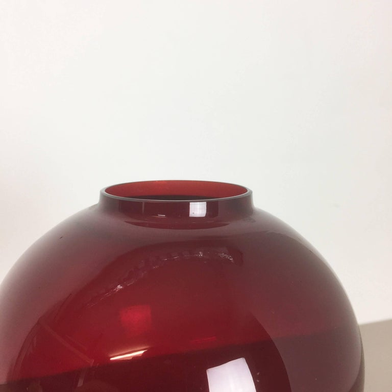 20th Century Vintage Red Glass and Brass CandleHolder by Hans-Agne Jakobsson, Sweden, 1950s For Sale