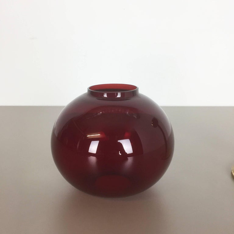 Vintage Red Glass and Brass CandleHolder by Hans-Agne Jakobsson, Sweden, 1950s For Sale 3