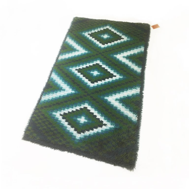 Original Scandinavian Square Pattern Rya Rug By Ege