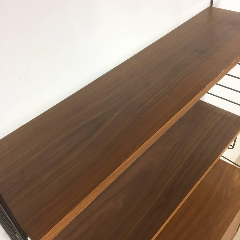 Mid-Century Modern Swedish Walnut Wall Unit by Nisse Strinning for String Design AB Sweden, 1960s For Sale