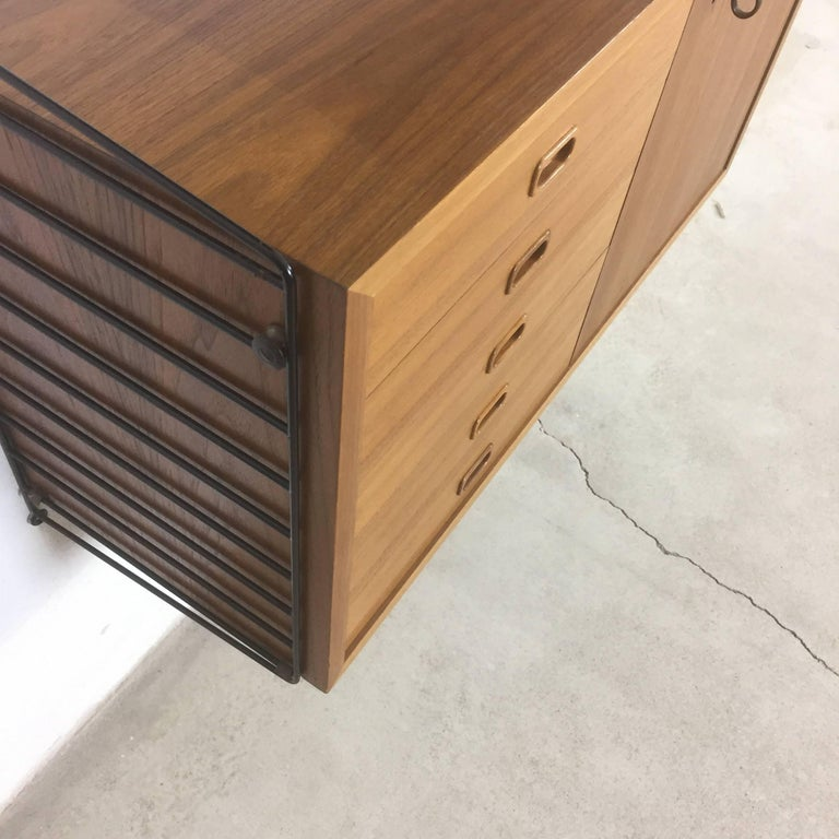 20th Century Swedish Walnut Wall Unit by Nisse Strinning for String Design AB Sweden, 1960s For Sale