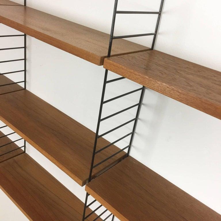 Mid-Century Modern Vintage Teak String Wall Unit Nisse Strinning String Design Ab, Sweden, 1960s For Sale
