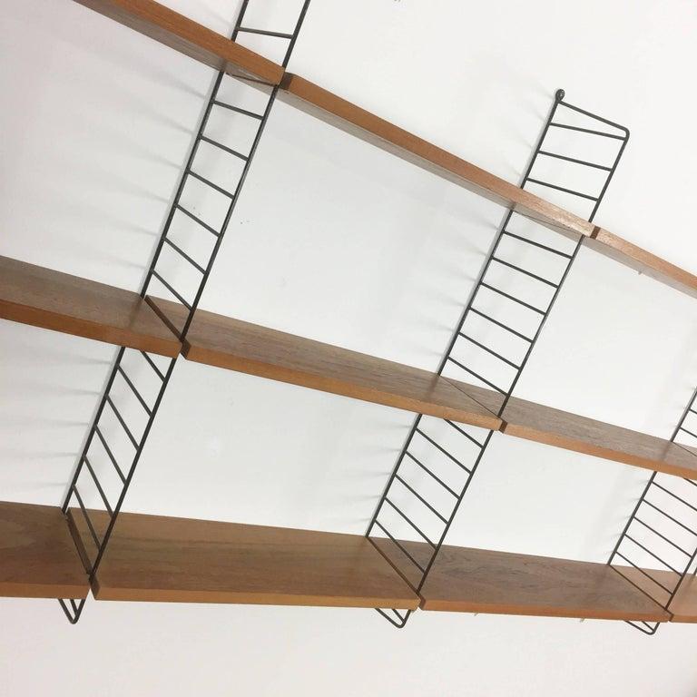 20th Century Vintage Teak String Wall Unit Nisse Strinning String Design Ab, Sweden, 1960s For Sale
