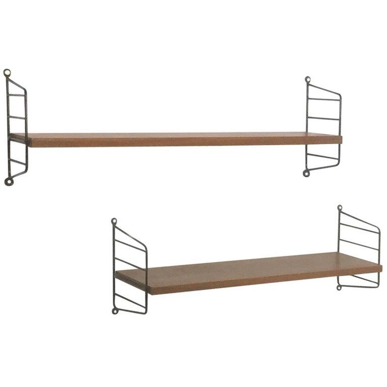 Set of Two String Walnut Wall Units Nisse Strinning String Design AB Sweden