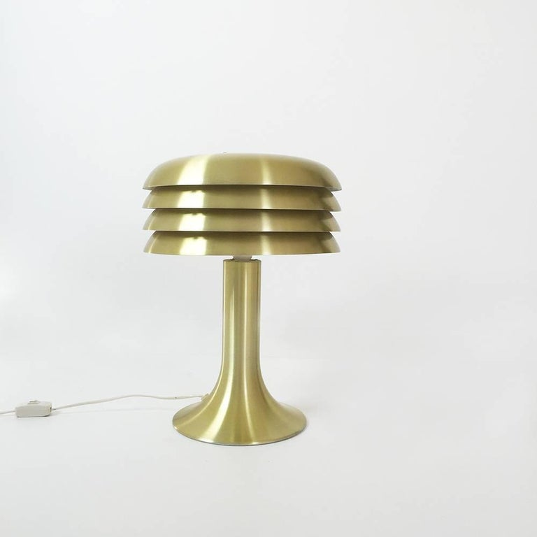 Desktop light by Hans-Agne Jakobsson.  Producer Hans-Agne Jakobsson A.B. Markaryd, Sweden,  1960s.  This brass desk light was designed by Hans-Agne Jakobsson in the 1950s and produced by his own company, Hans-Agne Jakobsson A. B. in Markaryd,