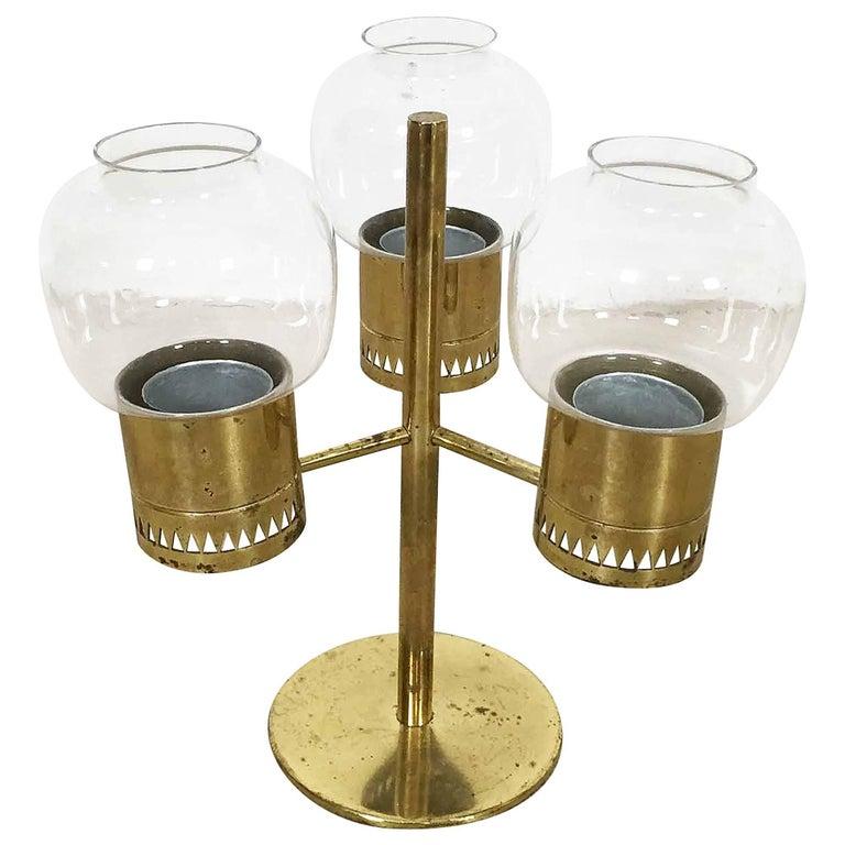 Original 1960s Brass Hurricane Candleholder by Hans-Agne Jakobsson, Sweden
