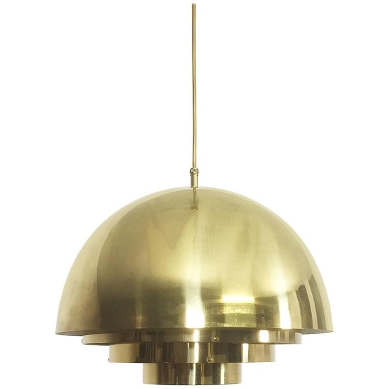 Original 1970s Brass Hanging Light by Vereinigte Werkstätten München, Germany