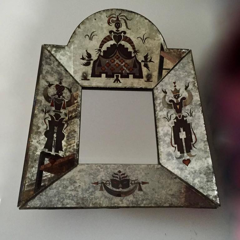 Small Unusual 1940s Verre Églomisé Mirror 3