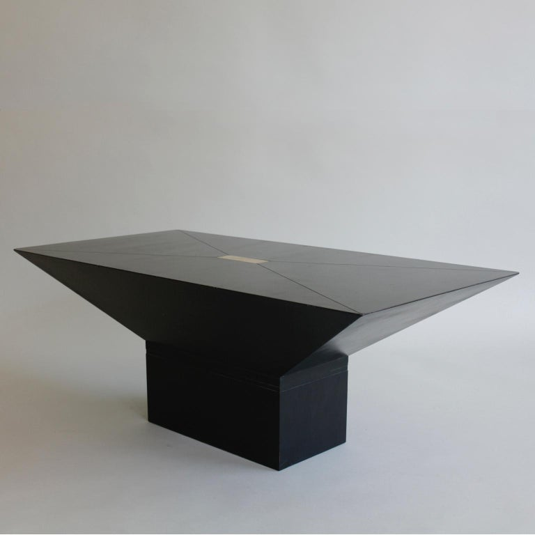 1970s or possibly 1980s black and brass rectangular coffee table, possibly French.