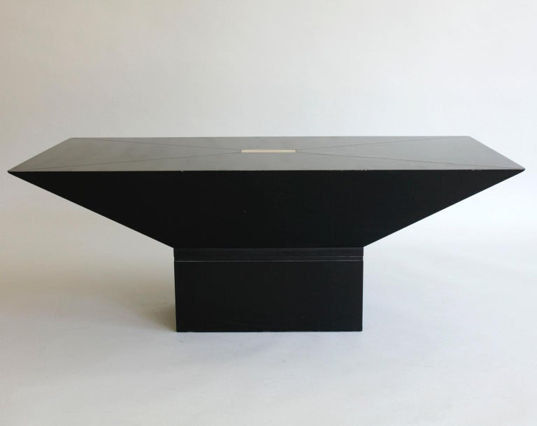 European 1970s or 1980s Black and Brass Rectangular Coffee Table For Sale
