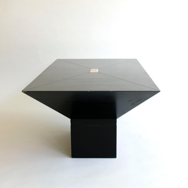Painted 1970s or 1980s Black and Brass Rectangular Coffee Table For Sale