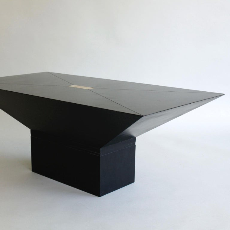 1970s or 1980s Black and Brass Rectangular Coffee Table In Good Condition For Sale In London, GB