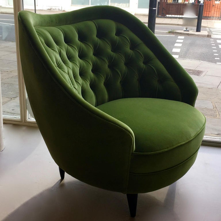 1950's pair of Green velours Italian Armchairs or Lounge Chairs with black ebonised legs and capitonné backs.