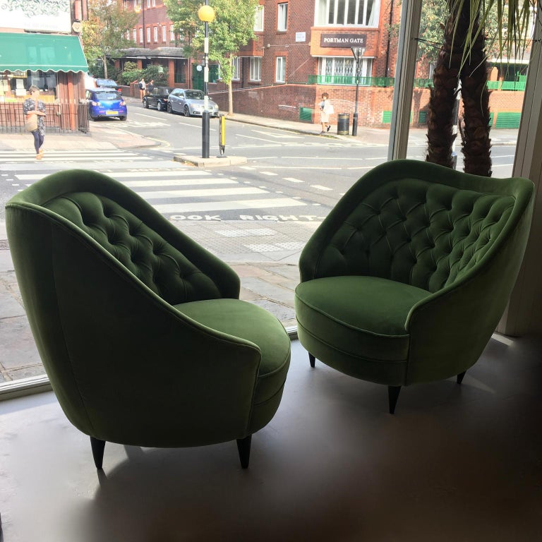 Mid-Century Modern Midcentury Vintage Green Velvet Italian Armchairs Lounge Chairs, 1950s, Pair For Sale