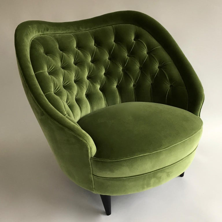 Midcentury Vintage Green Velvet Italian Armchairs Lounge Chairs, 1950s, Pair In Good Condition For Sale In London, GB