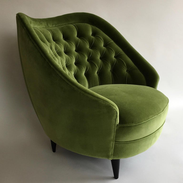 20th Century Midcentury Vintage Green Velvet Italian Armchairs Lounge Chairs, 1950s, Pair For Sale