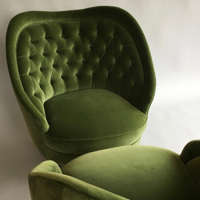 Fabric Midcentury Vintage Green Velvet Italian Armchairs Lounge Chairs, 1950s, Pair For Sale