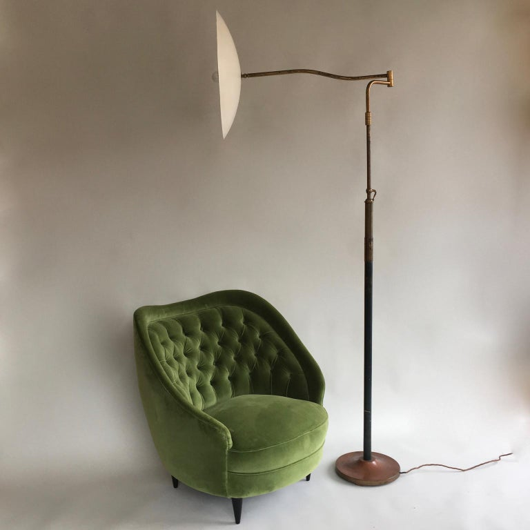 Midcentury Vintage Green Velvet Italian Armchairs Lounge Chairs, 1950s, Pair For Sale 1