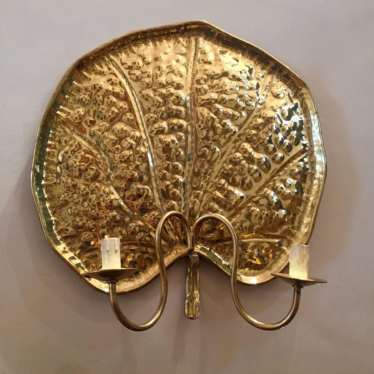a rare set of Four Large Brass Water Lilies Sconces or Wall Lights For Sale at 1stdibs