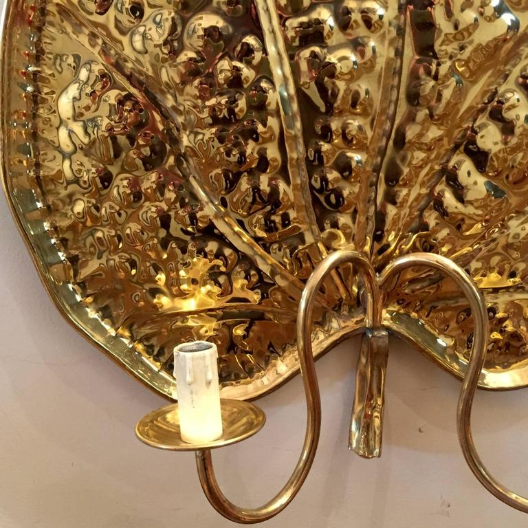 a rare set of Four Large Brass Water Lilies Sconces or Wall Lights at 1stdibs