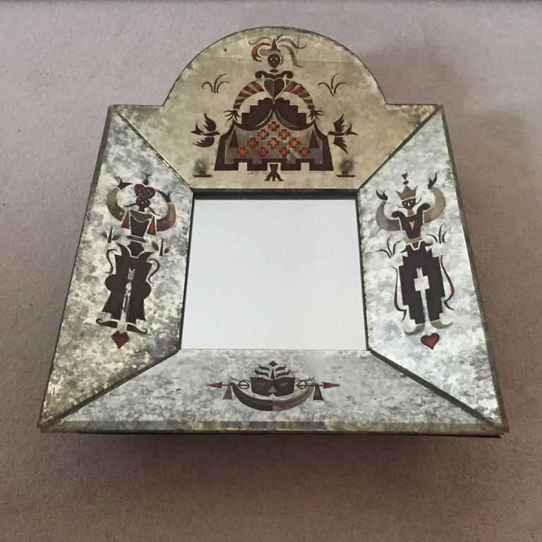 Small Unusual 1940s Verre Églomisé Mirror 2