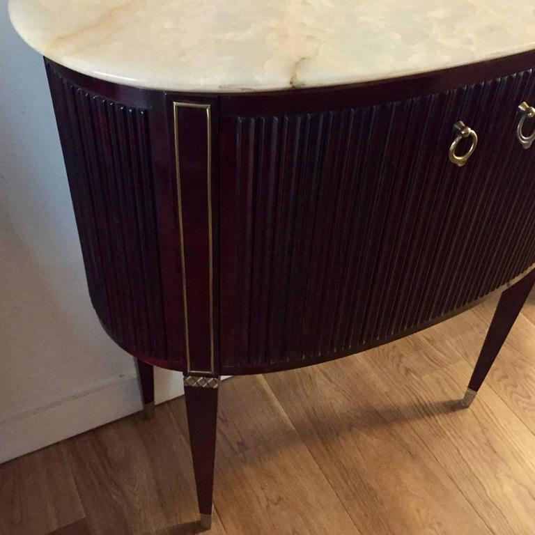 20th Century Small 1940s Italian Cabinet Onyx Top and Brass, Attributed to Paolo Buffa For Sale