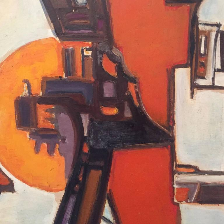 1960s French abstract oil painting No 4 from a series of four from the same source and by the same hand, Pierre Havret (b.1913) These four oils were framed on Foubert's place, off Carnaby street, in London, in the 1960s. The orange and earth colours