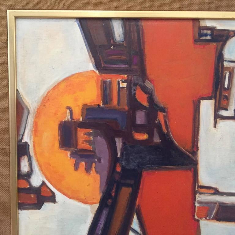 Mid-Century Modern 1960s French abstract Oil Painting by Pierre Havret For Sale