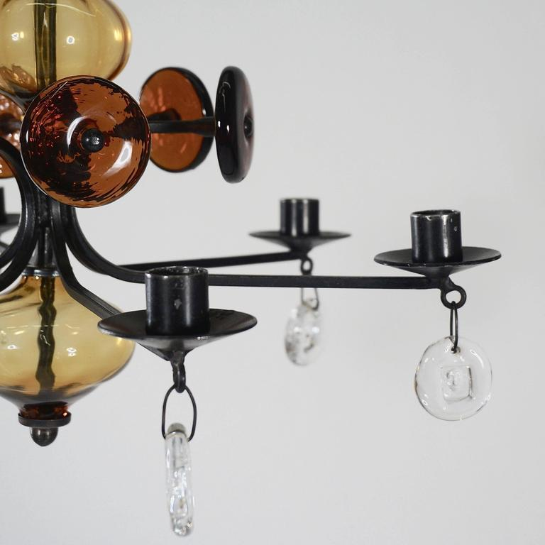 small glass chandelier multiple glass pendant wrought iron and glass chandelier with four main crossarms two small subsidiaries wrought iron glass chandelier by erik höglund for sale at 1stdibs