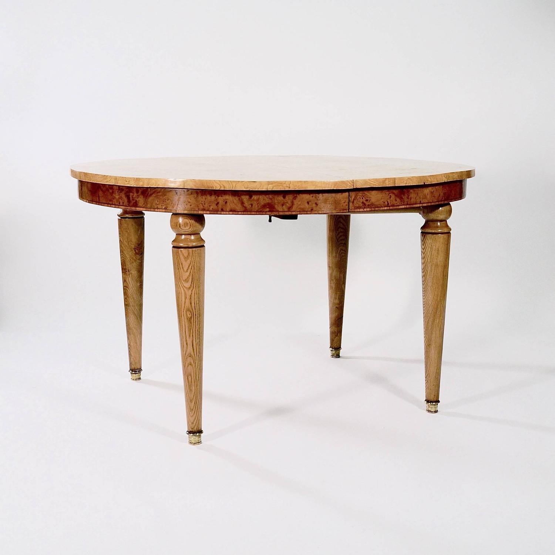 Oval Burr Elm Veneered Extending Dining Table For Sale at  : 2574az from www.1stdibs.com size 1500 x 1500 jpeg 85kB