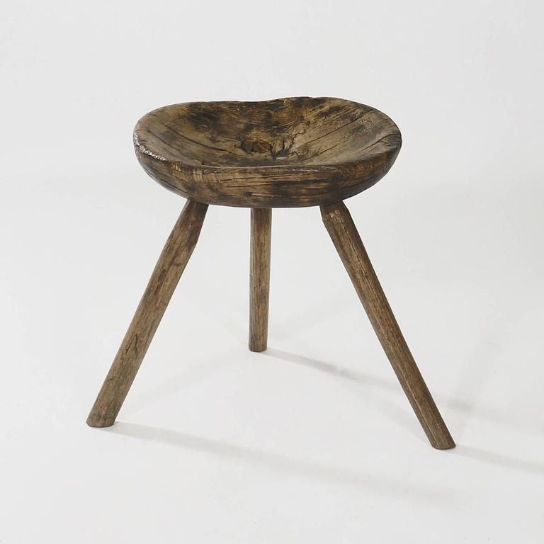 A Rustic Elmwood Milking Stool At 1stdibs