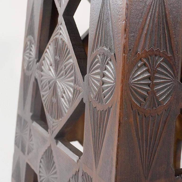 Russian arts and crafts square chip carved pine occasional